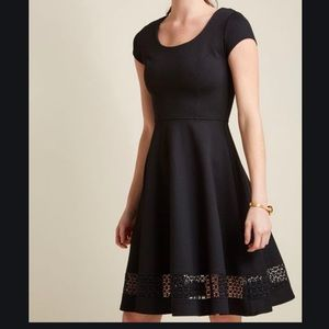 Textured A-Line Dress with Lace Insert in 2X